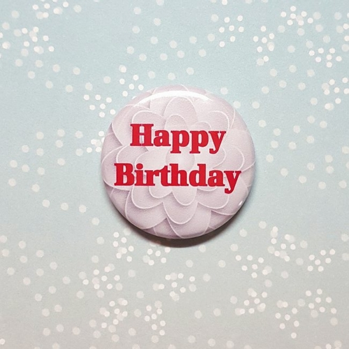 Button 25 mm - Happy Birthday rot