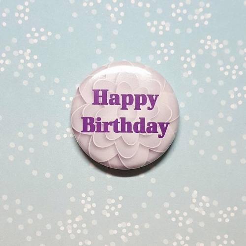 Button 25 mm - Happy Birthday lila / Anstecknadel